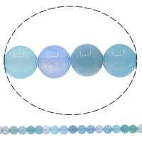 Natural Blue Agate Beads, Round, 8mm, Hole:Approx 1mm, Length:Approx 15 Inch, 10Strands/Lot, Approx 48PCs/Strand, Sold By Lot