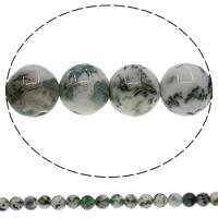 Luonnollinen Moss akaatti helmet, Pyöreä, 8mm, Reikä:N. 1mm, Pituus:N. 15 tuuma, 10säikeet/erä, N. 48PC/Strand, Myymät erä