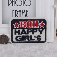 Iron on Patches, Cloth, Rectangle, with star pattern & with letter pattern, 88x64mm, 100PCs/Lot, Sold By Lot