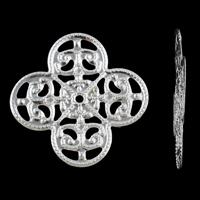 Железо Металлическая прокладка, Форма цветка, плакирован серебром, отверстие, не содержит никель, свинец, 31x1mm, отверстие:Приблизительно 2mm, 1000ПК/сумка, продается сумка