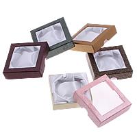 Tektura Pudełko na bransoletki, ze Satynowa wstążka, Kwadrat, mieszane kolory, 90x90x25mm, 5Torby/wiele, 18komputery/torba, sprzedane przez wiele
