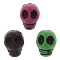 Antique Acrylic Beads, Skull, Imitation Antique, mixed colors, 9x12x12mm, Hole:Approx 1mm, Approx 625PCs/Bag, Sold By Bag