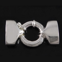 925 Sterling Silver Spring Ring Clasp, with end cap, 31mm, 12x15x8mm, 17x19x3.5mm, Hole:Approx 13.5x7mm, Sold By PC