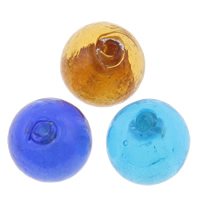 Silver Foil Lampwork Beads, Round, handmade, mixed colors, 14x14mm, Hole:Approx 1.5mm, 100PCs/Bag, Sold By Bag