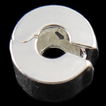 Brass European Clip, Rondelle, nickel, lead & cadmium free, 9x6mm, Hole:Approx 3mm, Sold By PC