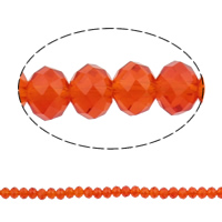 Rondelle Crystal Beads, imitation CRYSTALLIZED™ element crystal, Fire Opal, 6x8mm, Hole:Approx 1.5mm, Length:Approx 16 Inch, 10Strands/Bag, Sold By Bag