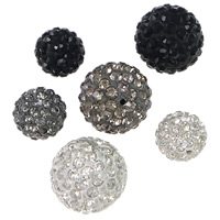 Half Drilled Rhinestone Beads, Rhinestone Clay Pave, Round, different size for choice & half-drilled, more colors for choice, Hole:Approx 1mm, 100PCs/Lot, Sold By Lot