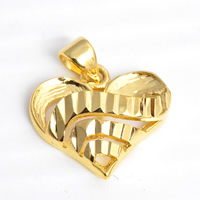24 K Gold Color Plated Pendant Brass Heart 24K gold plated flower cut nickel lead   cadmium free 17x20mm Hole:Approx 2x4.5mm 30PCs/Lot