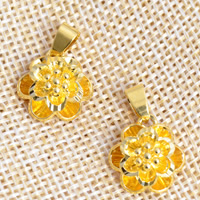 24 K Gold Color Plated Pendant Brass Flower 24K gold plated layered nickel lead   cadmium free 15x21mm Hole:Approx 2x4.5mm 20PCs/Lot