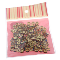 Iron Spacer Bead, with OPP, Rondelle, gold color plated, with rhinestone, nickel, lead & cadmium free, 8x3mm, 100x170mm, Hole:Approx 1mm, 200PCs/Bag, Sold By Bag