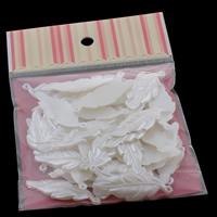 Tworzywa ABS perła Wisiorek, Liść, biały, 16x44x3mm, 100x170mm, otwór:około 1mm, 50komputery/torba, sprzedane przez torba