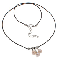 Natural Freshwater Pearl Necklace, with Rubber, iron lobster clasp, Round, pink, 10x21x9mm, Sold Per 15.5 Inch Strand