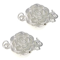 925 Sterling Silver Box Clasp, Flower, single-strand, 10x10.50x6mm, 5PCs/Bag, Sold By Bag