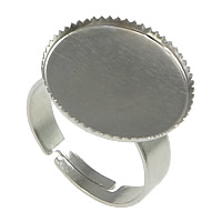 Brass Bezel Ring Base, platinum color plated, adjustable, nickel, lead & cadmium free, 17x19mm, Inner Diameter:Approx 16mm, US Ring Size:7, 100PCs/Lot, Sold By Lot