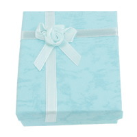 Cardboard Jewelry Set Box, finger ring & necklace, with Satin Ribbon, Rectangle, turquoise blue, 66x80x23mm, 12PCs/Bag, Sold By Bag