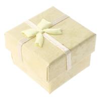 Tektura Pojedyncze pudełko na pierścionek, ze Sznur plastikowy & Bawełna, Kwadrat, żółty, 45x45x33mm, 48komputery/wiele, sprzedane przez wiele