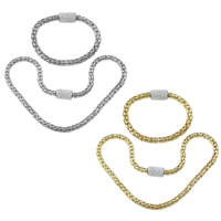 Refine Stainless Steel Jewelry Sets, bracelet & necklace, with Rhinestone Clay Pave, plated, with 360 pcs rhinestone & lantern chain, more colors for choice, 18x12mm, 6.5mm,18x12mm, 6.5mm, Length:Approx 18.5 Inch, Approx 8.5 Inch, 20Sets/Lot, Sold By Lot