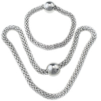 Refine Stainless Steel Jewelry Sets, bracelet & necklace, mesh chain, original color, 16x18mm, 8mm,16x18mm, 8mm, Length:Approx 18.5 Inch, Approx 9 Inch, 30Sets/Lot, Sold By Lot