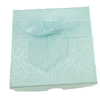 Cardboard Bracelet Box, with Satin Ribbon & Organza, Square, green, 90x90x21mm, 12PCs/Lot, Sold By Lot
