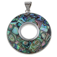 Natural Mosaic Shell Pendants, Abalone Shell, with Freshwater Shell & Zinc Alloy, Donut, platinum color plated, 40x46x5mm, Hole:Approx 5x4mm, 10PCs/Bag, Sold By Bag