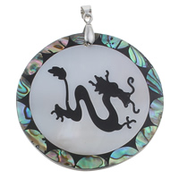 Natural Mosaic Shell Pendants, Freshwater Shell, with brass bail & Abalone Shell & Resin, Flat Round, platinum color plated, with chinese zodiac pattern, 49x4mm, Hole:Approx 4x6mm, 10PCs/Bag, Sold By Bag