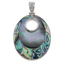 Natural Mosaic Shell Pendants, Black Shell, with Freshwater Shell & Abalone Shell & Zinc Alloy, Flat Oval, platinum color plated, 42x58x5mm, Hole:Approx 6x9mm, 10PCs/Bag, Sold By Bag