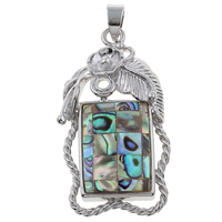 Natural Mosaic Shell Pendants, Abalone Shell, with Freshwater Shell & Zinc Alloy, platinum color plated, 25x47x5mm, Hole:Approx 4x8mm, 10PCs/Bag, Sold By Bag