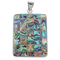Natural Mosaic Shell Pendants, Abalone Shell, with Freshwater Shell & Zinc Alloy, Rectangle, platinum color plated, 31x47x5mm, Hole:Approx 4x6mm, 10PCs/Bag, Sold By Bag