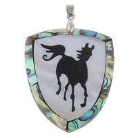 Natural Mosaic Shell Pendants, Freshwater Shell, with brass bail & Abalone Shell & Resin, Shield, platinum color plated, with chinese zodiac pattern, 42x52x4mm, Hole:Approx 4x6mm, 10PCs/Bag, Sold By Bag