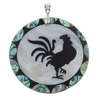Natural Mosaic Shell Pendants, Freshwater Shell, with brass bail & Abalone Shell & Resin, Flat Round, platinum color plated, with chinese zodiac pattern, 48x4mm, Hole:Approx 4x5mm, 10PCs/Bag, Sold By Bag