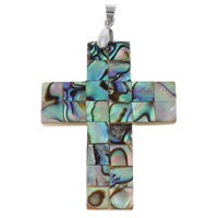Natural Mosaic Shell Pendants, Abalone Shell, with brass bail & Freshwater Shell, Cross, platinum color plated, 32x44x3mm-47x33x4mm, Hole:Approx 3x3mm, 10PCs/Bag, Sold By Bag