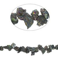 Vergulde Agaat parels, Nuggets, plated, 8x9x10mm-35x16x17mm, Gat:Ca 1mm, Ca 40pC's/Strand, Per verkocht Ca 16.5 inch Strand