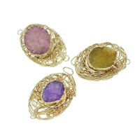 Druzy Connector, Ice Quartz Agate, with Brass, Flat Oval, gold color plated, druzy style & 1/1 loop, mixed colors, 36-43mm, 26mm, Hole:Approx 8mm, 7PCs/Bag, Sold By Bag