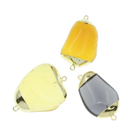 Quartz Connector, with Brass, gold color plated, mixed & 1/1 loop, 20x30x12mm, 33x43x13mm, Hole:Approx 2mm, 3PCs/Bag, Sold By Bag