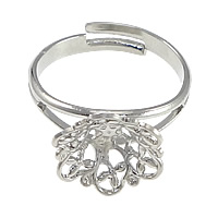 Brass Filigree Ring Base Flower platinum color plated adjustable nickel lead   cadmium free 12mm Inner Diameter:Approx 6mm US Ring Size:7 100PCs/Lot