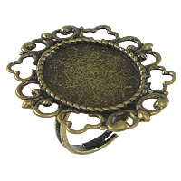 Brass Bezel Ring Base, Flower, antique bronze color plated, adjustable, nickel, lead & cadmium free, 32mm, Inner Diameter:Approx 15.4x19mm, US Ring Size:6.5, 50PCs/Lot, Sold By Lot