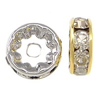 Rhinestone Spacers, Brass, Rondelle, plated, different size for choice & with rhinestone, more colors for choice, nickel, lead & cadmium free, 100PCs/Lot, Sold By Lot