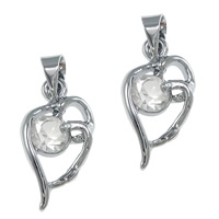 Rhinestone Brass Pendants, platinum color plated, with rhinestone, nickel, lead & cadmium free, 9x17x4mm, Hole:Approx 4x3.5mm, 100PCs/Lot, Sold By Lot