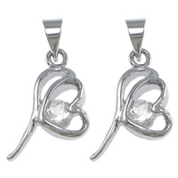 Brass Heart Pendants, platinum color plated, with rhinestone, nickel, lead & cadmium free, 11x18x4mm, Hole:Approx 3.5mm, 100PCs/Lot, Sold By Lot