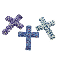 Polymer Clay Pendants, Cross, handmade, with flower pattern, mixed colors, 45x60x7mm, Hole:Approx 1.5mm, 100PCs/Bag, Sold By Bag