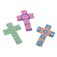 Polymer Clay Pendants, Cross, handmade, with flower pattern, mixed colors, 30x45x3mm, Hole:Approx 1mm, 100PCs/Bag, Sold By Bag