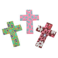 Polymer Clay Pendants, Cross, handmade, with flower pattern, mixed colors, 30x45x3mm, Hole:Approx 1.5mm, 100PCs/Bag, Sold By Bag