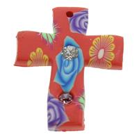 кулон из полимерной глины, полимерный клей, Kресты, Связанный вручную, с цветочным узором & со стразами, 22x28x3mm, отверстие:Приблизительно 1mm, 100ПК/сумка, продается сумка