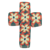 Polymer Clay Pendants, Cross, handmade, with flower pattern, 21x32x3mm, Hole:Approx 1mm, 100PCs/Bag, Sold By Bag