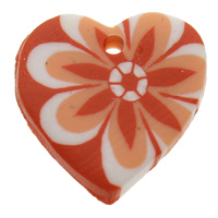Polymer Clay Pendants, Heart, handmade, with flower pattern, orange, 19x19x4mm, Hole:Approx 1mm, 100PCs/Bag, Sold By Bag