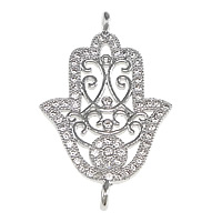Cubic Zirconia Micro Pave Brass Connector Hamsa platinum plated Islamic jewelry   micro pave cubic zirconia   1/1 loop   hollow nickel lead   cadmium free 16x26x2mm Hole:Approx 1.5mm 5PCs/Lot