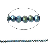 Rondelle Crystal Beads, imitation CRYSTALLIZED™ element crystal, metallic color plated, 3x4mm, Hole:Approx 1mm, Length:Approx 20 Inch, 10Strands/Bag, Sold By Bag