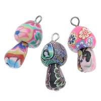 Polymer Clay Pendants, with iron bail, handmade, with flower pattern & mixed, 13x28mm, Hole:Approx 3.5mm, 100PCs/Bag, Sold By Bag