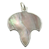 Natural Black Shell Pendants with Brass Leaf platinum color plated 29x36x1mm Hole:Approx 2mm 10PCs/Bag