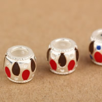 925 Sterling Silver European Beads, Rondelle, without troll & enamel, 8x8mm, Hole:Approx 5mm, 20PCs/Lot, Sold By Lot